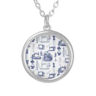 Vintage Sewing Toile Silver Plated Necklace