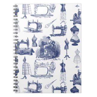 Vintage Sewing Toile Spiral Notebook