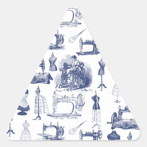 Vintage sewing toile triangle sticker zazzle - Toile jardin triangle ...