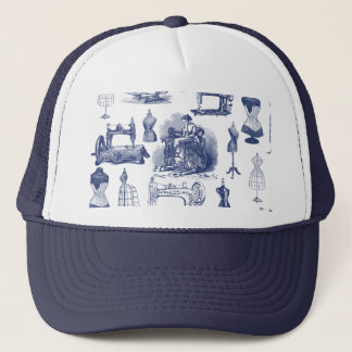 Vintage Sewing Toile Trucker Hat