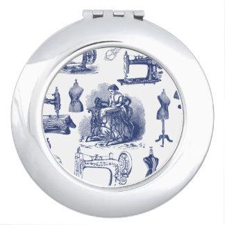 Vintage Sewing Toile Vanity Mirror