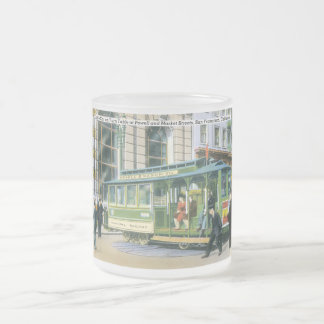 Vintage SF Cable Car Frosted Glass Coffee Mug