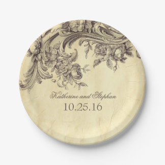 vintage shabby and chic flourishes paper plate