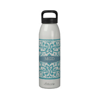 Vintage shabby and chic intricate damask monogram drinking bottle