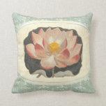 Vintage Shabby Botanical Peach Lotus Blossom Yoga Pillows