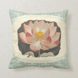 Vintage Shabby Botanical Peach Lotus Blossom Yoga Throw Pillow