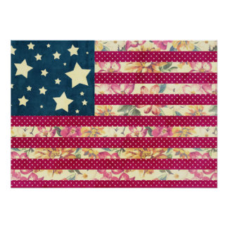 Vintage Shabby Chic | American Flag Poster