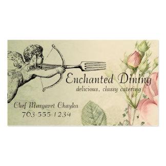 Vintage shabby chic cupid fork arrow chef biz card