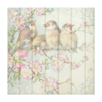 Vintage Shabby Chic Floral Faded Birds Design Canvas Print