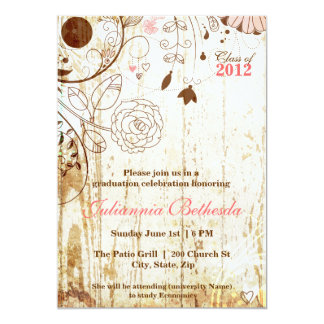 Vintage Shabby Chic Floral Graduation Invite