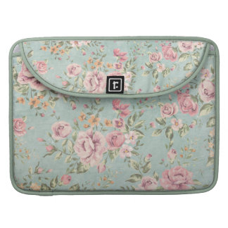 Vintage shabby chic floral teal pink girly elegant sleeves for MacBook pro