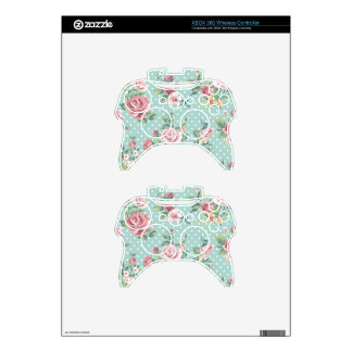 Vintage shabby chic floral teal pink girly xbox 360 controller decal