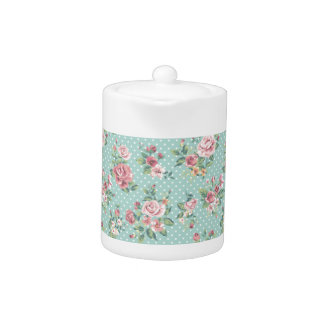 Vintage shabby chic floral teal pink girly