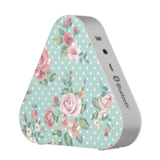 Vintage shabby chic floral teal white pink polka bluetooth speaker
