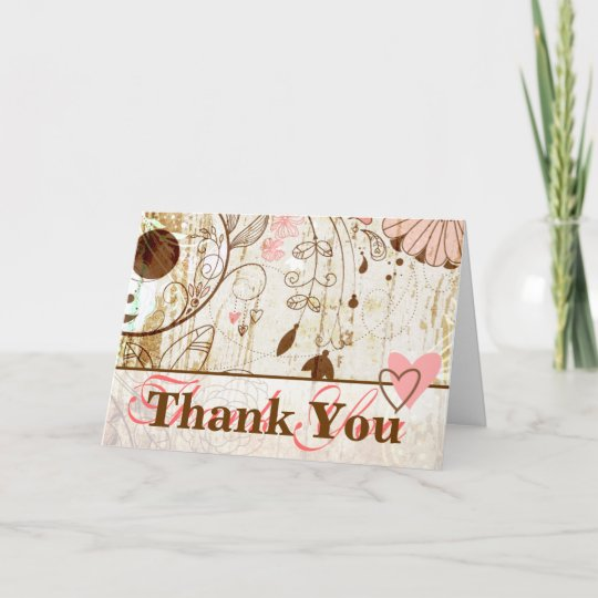 Vintage Shabby Chic Floral Thank You Card Zazzle Com
