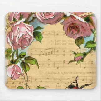 Vintage Shabby Chic Flowers & Music Collage Mouse Pad