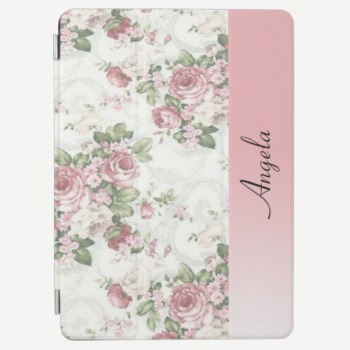 Vintage Shabby Chic Flowers-Personalized iPad Air Cover