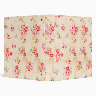 Vintage Shabby Chic Girly Pink Blue Roses Floral 3 Ring Binder