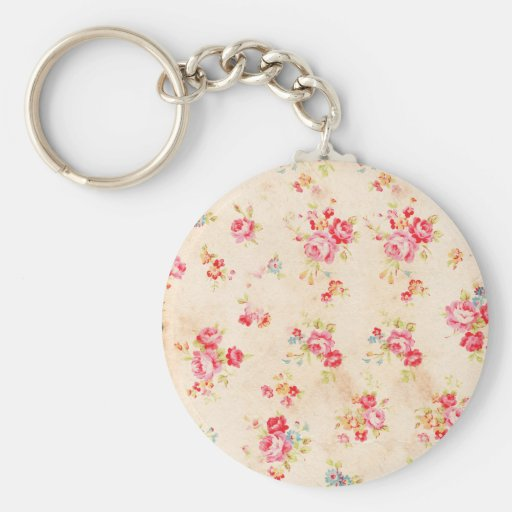 Vintage Shabby Chic Girly Pink Blue Roses Floral Keychain