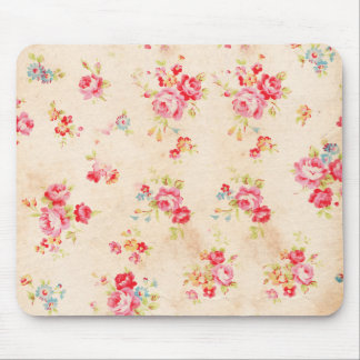 Vintage Shabby Chic Girly Pink Blue Roses Floral Mousepad