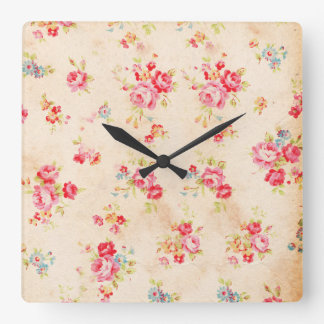 Vintage Shabby Chic Girly Pink Blue Roses Floral Square Wall Clock