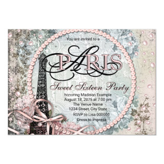Vintage Shabby Chic Paris Sweet 16 Party Card