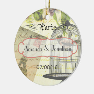 Vintage Shabby-Chic Paris Theme Wedding Custom Ceramic Ornament