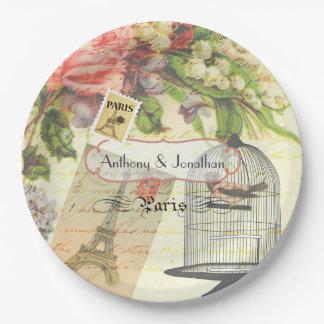 Vintage Shabby-Chic Paris Theme Wedding Custom Paper Plate