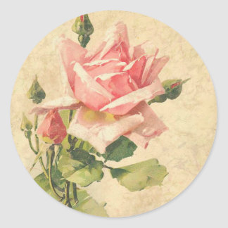 Vintage Shabby Chic Pink Rose Flower Stickers
