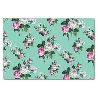 """Vintage Shabby Chic Pink White Roses Pattern 10"""" X 15"""" Tissue Paper"""