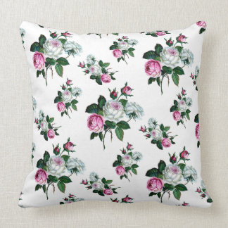 Vintage Shabby Chic Pink White Roses Pattern Throw Pillow