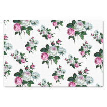 Vintage Shabby Chic Pink White Roses Pattern Tissue Paper