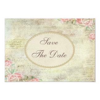 """Vintage Shabby Chic Roses Wedding Save the Date 3.5"""" X 5"""" Invitation Card"""