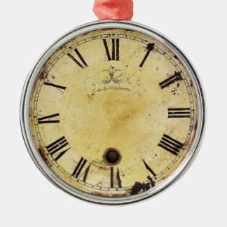 Vintage Shabby Chic Wall Clock Round Metal Christmas Ornament