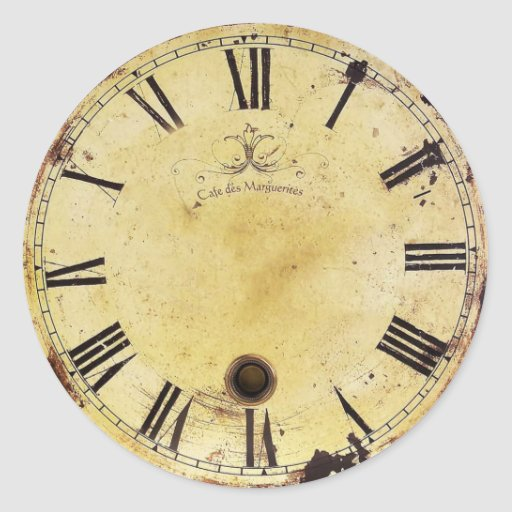 Vintage Shabby Chic Wall Clock Round Stickers