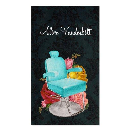 Vintage Shabby Damask Salon Chair Stylist Card Business Card Template