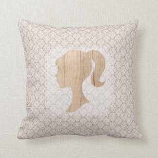 Vintage Shabby Design and Realistic Wood Silhouett Pillow