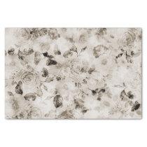 Vintage shabby elegant white gray roses floral tissue paper
