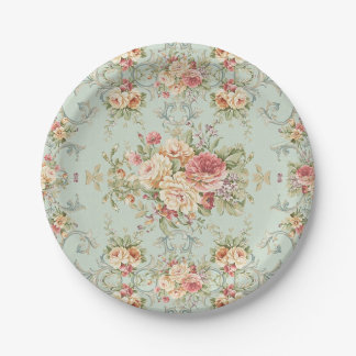 Vintage Shabby Floral Roses Pink Ivory Paper Plate
