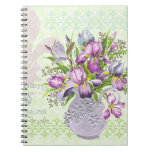 Vintage Shabby Purple Flowers Whimsical Green Note Books