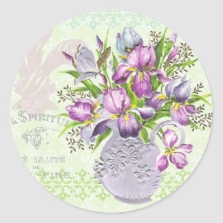Vintage Shabby Purple Flowers Whimsical Green Sticker