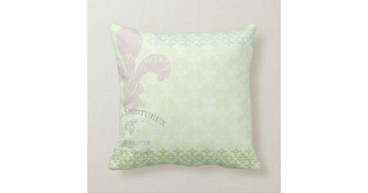 Lavender Flower Throw Pillow : Vintage Shabby Purple Flowers Whimsical Green Throw Pillow Zazzle