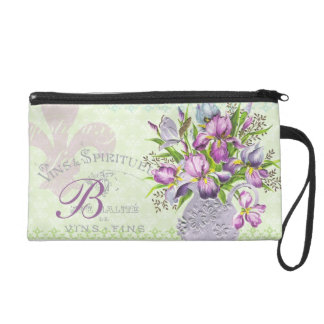 Vintage Shabby Purple Flowers Whimsical Monogram Wristlet