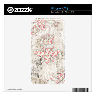 Vintage Shabby Queen Bee Design Skins For The iPhone 4