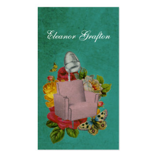 Vintage Shabby Salon Dryer Chair Rose Stylist Card