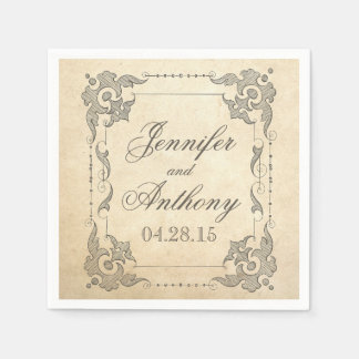 vintage shabby wedding napkin