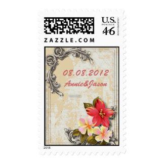 Vintage ShabbyChic Beach Wedding SaveTheDate Stamp