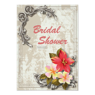 Vintage ShabbyChic Floral hawaii Bridal Shower 5x7 Paper Invitation Card