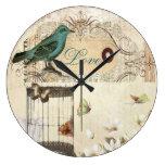 vintage shabbychic París del collage de la jaula d Relojes De Pared