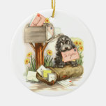 Vintage Shaggy puppy with mail Ceramic Ornament